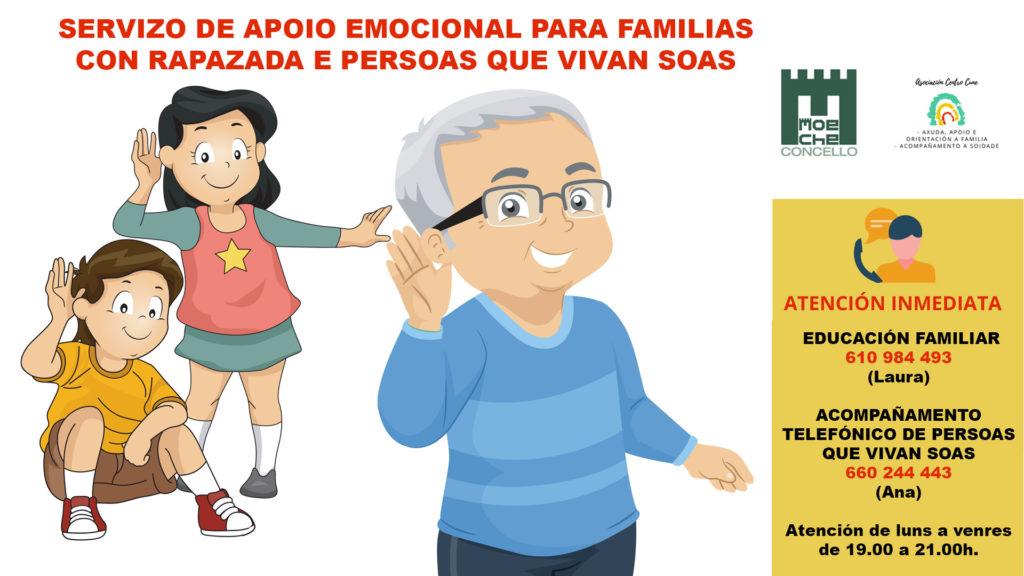 Benestar Social pon en marcha un servizo de apoio emocional para familias con rapazada e persoas que vivan soas